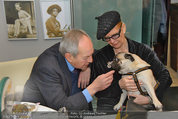 LisaFilm Fasching - FilmCafe - Di 04.03.2014 - Christiane H�RBIGER mit Hund Loriot, Otto SCHENK3