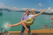 Beachvolleyball VIPs - Centrecourt Klagenfurt - Sa 02.08.2014 - Richard LUGNER mit Spatzi Crazy Cathy SCHMITZ1