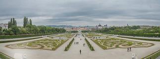 Staatsakt 60 Jahre Staatsvertrag - Oberes Belvedere - Fr 15.05.2015 - Panorama Blick vom Belevedere-Balkon �ber den Park167