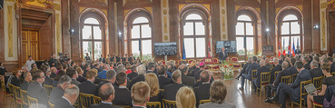 Staatsakt 60 Jahre Staatsvertrag - Oberes Belvedere - Fr 15.05.2015 - �bersichtsfoto Panorama G�ste Regierung Ansprache Marmorsaal82