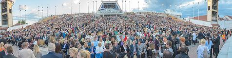 Eine Nacht in Venedig Premiere - Seebühne Mörbisch - Do 09.07.2015 - Panoramafoto Seeb�hne, Trib�ne, Publikum, G�ste, �bersicht95