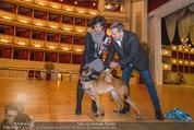 ORF backstage am Ball - Staatsoper - Mi 03.02.2016 - Andrea HEINRICH, Alfons HAIDER mit Sprengstoffsp�rhund23