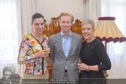 Empfang für Dominique Meyer - Privatwohnung Sarata - Mi 18.05.2016 - Christiane WENCKHEIM, Nikolaus PELINKA, Sigrid OBLAK1