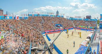 Beachvolleyball - Donauinsel Wien - Sa 04.08.2018 - Stadion, Zuschauer, Übersichtsfoto, Athmosphäre, Center Court,27