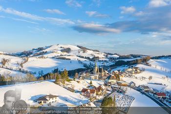Österreich in Farben - Oberösterreich - Do 17.01.2019 - Maria Neustift bei Sonnenaufgang Luftbild Winter, Dort mit Kirch17