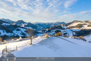Österreich in Farben - Oberösterreich - Do 17.01.2019 - Maria Neustift bei Sonnenaufgang Luftbild Winter, Dort mit Kirch18
