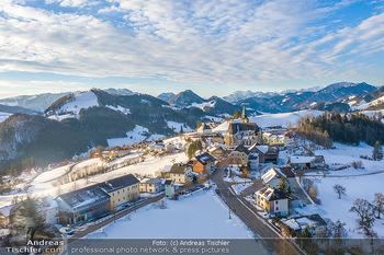 Österreich in Farben - Oberösterreich - Do 17.01.2019 - Maria Neustift bei Sonnenaufgang Luftbild Winter, Dort mit Kirch20
