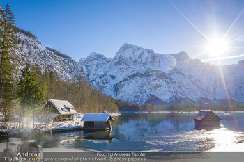 Österreich in Farben - Oberösterreich - Do 17.01.2019 - Seehütte Fischerhütte Bootshaus am Almsee, Almtal, blauer Himm29