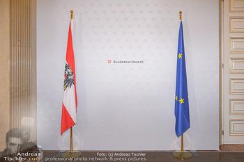 Schwarzenegger trifft Kurz - Bundeskanzleramt - Di 29.01.2019 - Fotokulisse im Bundekanzleramt mit Österreichfahne und EU-Fahne10