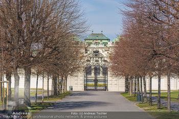 Corona Lokalaugenschein - Wien - Mo 16.03.2020 - Belvedere Eingang in den Park geschlossen wegen Coronavirus Pand52