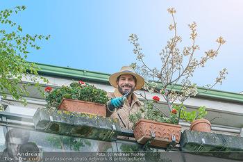 Promis während Corona - Wien - Mi 15.04.2020 - Clemens UNTERREINER pflanzt Blumen auf seinem Balkon und schneid10