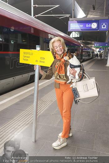 Künstler Abreise nach Seefeld - Hauptbahnhof, Wien - Do 11.06.2020 - Elisabeth GÜRTLER mit Hund Ella3