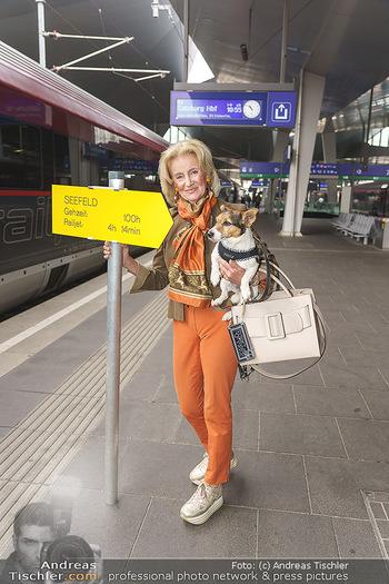 Künstler Abreise nach Seefeld - Hauptbahnhof, Wien - Do 11.06.2020 - Elisabeth GÜRTLER mit Hund Ella4
