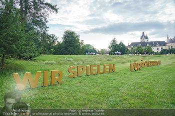 Festspiel Premiere - Grafenegg - Fr 14.08.2020 - Wir spielen für Österreich Schriftzug, Slogan, Buchstaben im G21