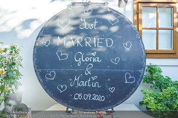 Hochzeit Martin und Gloria Traxl - Purbach, Burgenland - Sa 05.09.2020 - Schild für Martin und Gloria TRAXL - just married19