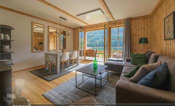 Neue Chalets am Schneeberg - Puchberg am Schneeberg - Fr 23.10.2020 - Wohnraum Wohnzimmer Terrasse living modern Esstisch Kamin Holz g17