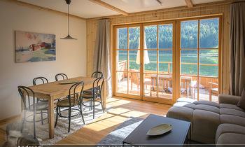 Neue Chalets am Schneeberg - Puchberg am Schneeberg - Fr 23.10.2020 - Wohnraum Wohnzimmer Terrasse living modern Esstisch Kamin Holz g38