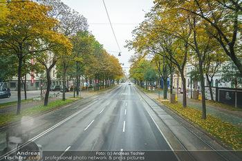 Big Bus Citytour - Wien - So 25.10.2020 - Ringstraße Wien ohne Verkehr, menschenleer, Fahrspuren, Bäume17