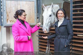 Anna Netrebko bei den Lipizzanern - Spanische Hofreitschule - Stallburg Wien - Di 02.02.2021 - Anna NETREBKO, Sonja KLIMA mit Lipizzaner Pferd10