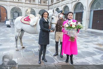 Anna Netrebko bei den Lipizzanern - Spanische Hofreitschule - Stallburg Wien - Di 02.02.2021 - Anna NETREBKO, Sonja KLIMA mit Bereiter und Lipizzaner Pferd54