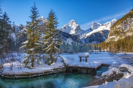 Landschaft Österreich Natur Tourismus Werbung Austria Winter blauer Himmel Kaiserwetter Schnee Landschaftsfoto - Schiederweiher im Winter, Schneebedeckt, blauer Himmel, Idylle,  by Andreas Tischler