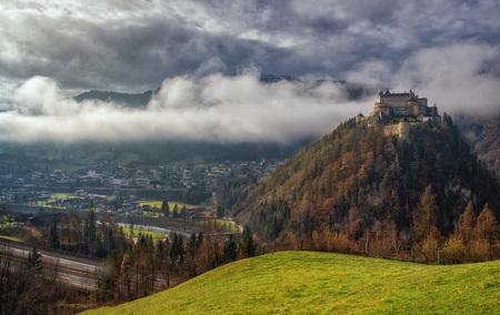 Salzburg Burg Festung Werfen Werfenweng Nebel Tal  Landschaft Österreich Natur Tourismus Werbung Austria - Salzburg Burg Festung Werfen Werfenweng Nebel Tal  Landschaft Ö by Andreas Tischler