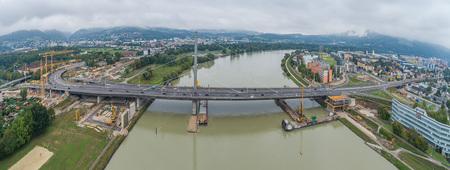(c) Drohnenfotos.at - Andreas Tischler - Linz Voestbruecke Donau Baustelle by Andreas Tischler