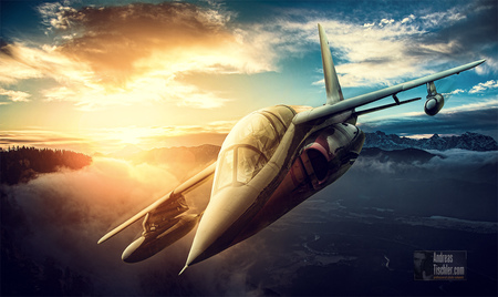 Fotomontage, Draken, Flugzeug, Jet, Sonne - Fotomontage, Draken, Flugzeug, Jet, Sonne by Andreas Tischler
